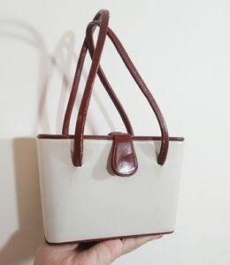 Vintage 40s 50s mini box purse wristlet bag leathe